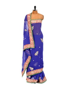 Blue Chiffon Saree With Zari Work - LIME