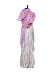 Ethereal Pink And White Saree - URBAN PARI