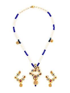 Dainty White & Blue Beads Necklace Set - KSHITIJ