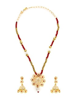 Elite Golden & Red Necklace Set - KSHITIJ