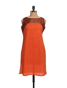 Orange And Maroon Kurta - Morpunc