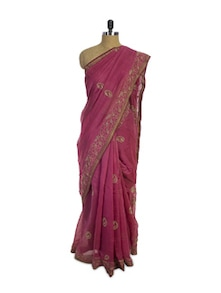 Pink Chikan Cotton Silk Saree - Spatika Sarees