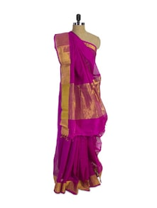 Luxe Magenta Cotton Silk Saree - Spatika Sarees