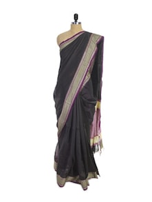 Luxe Black Cotton Silk Saree - Spatika Sarees