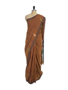 Earthy Brown Cotton Silk Saree - Spatika Sarees