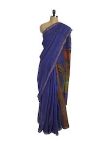 Earthy Matka Silk Blue Saree - Spatika Sarees