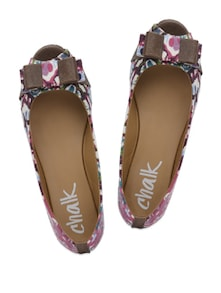 Batik Print Peep-Toe Ballet Flats - Chalk Studio