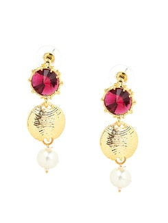 Pink And Gold Pearl Drop Earrings - KSHITIJ