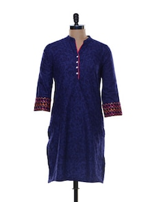 Dark Blue Printed Cotton Kurta - Myra