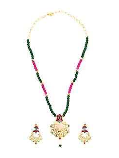 Pink & Green Bead Necklace Set - KSHITIJ