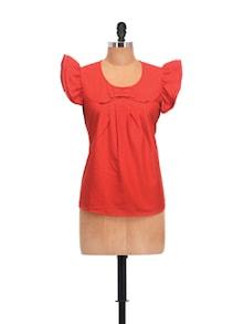 Ruffled Sleeves Top In Bright Red - Meee
