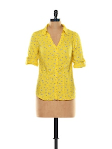 Butterfly-bow Print Yellow Shirt - Thegudlook