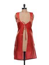 Red Rouge Brocade Long Jacket - NAVYOU