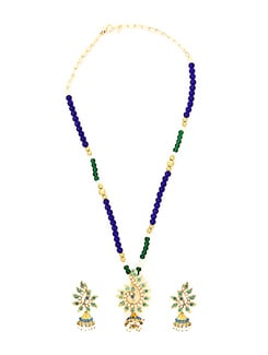 Blue And Green Necklace Set - KSHITIJ