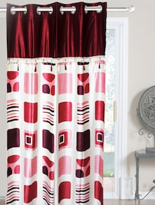 Red & White Polyester Curtains - Dekor World