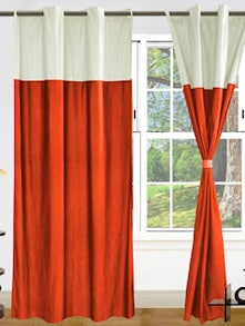 Orange &white Polyester Curtains - Dekor World