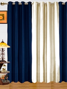Blue & White Window Curtains - Dekor World 80743