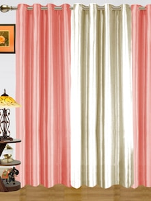 Plain Pink & White Polyester Curtains - Dekor World