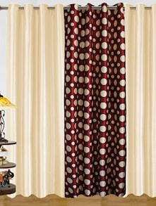 Maroon & White Polyester Curtains - Dekor World