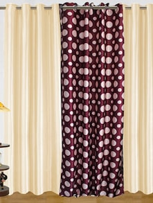 Purple & White Polyester Curtains - Dekor World