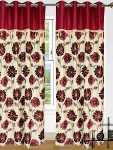 Maroon & White Door Curtains - Dekor World