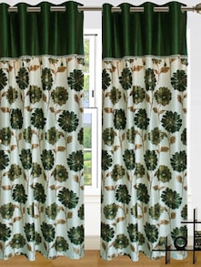 Green & White Door Curtains - Dekor World