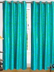 Striking Sea Green Curtains - Dekor World