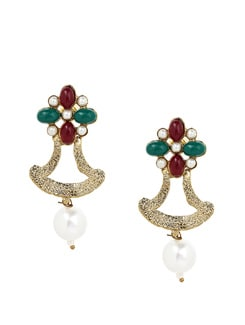 Red And Green Flower And Pearl Drop Earrings - KSHITIJ