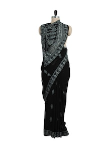 Stunning Black And White Chikankari Saree - Ada