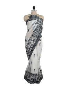 Pristine White And Black Chikankari Saree - Ada
