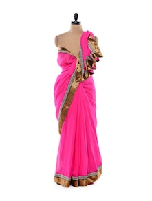 Pink Saree With Zari Border - Get Style At Home