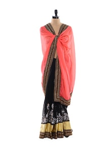 Coral And Black Saree - Get Style At Home