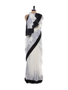Shimmery White And Black Saree - Get Style At Home