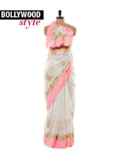 White Shimmery Saree with Light Neon Pink Border