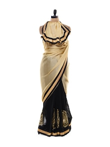 Black And Gold Saree - Get Style At Home