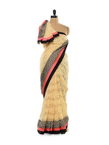Butterscotch Cotton Lace Saree - Get Style At Home