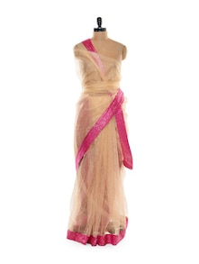 Cream And Pink Net Saree - Get Style At Home