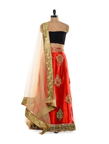 Heavily Embellished Red And Black Lehenga - Get Style At Home