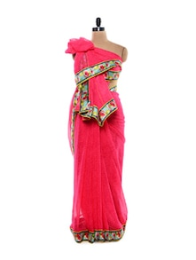 Blush Pink Chiffon Saree With Raw Silk Border - purple oyster