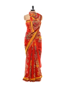 Bright Red Floral Georgette Saree - Purple Oyster