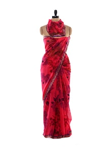 Semi-Sheer Scarlet Floral Saree - Purple Oyster