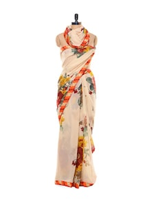 Sheer Floral Cream Saree - Purple Oyster