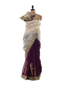 Cotton Silk Blend Saree In White And Purple - Purple Oyster