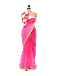 Ombre Pink Chiffon Saree - Purple Oyster
