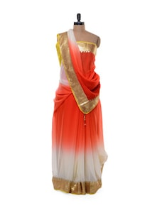Ombre Saree In Chiffon-Silk Blend - Purple Oyster