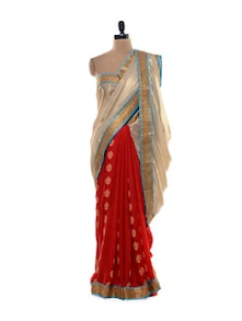 Vibrant Red Saree With Rich Gold Pallu - Purple Oyster