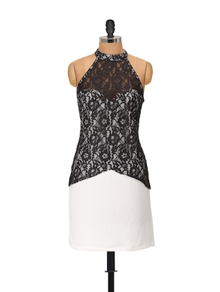 Lace front black halter dress