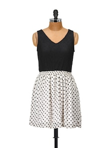 Lace Teamed With Polyester Georgette Polka Dress - @ 499