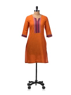 Orange Kurta With Contrasting Sleeve Cuffs And Neck Panel - Aurelia