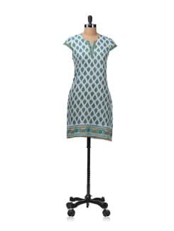 Capped Sleeve Kurta With An All Over Buti Print - Aurelia